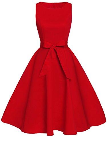ro Blumen Cocktail Schwingen Party Kleid mit Bogen DRT017(M,Rot) (Frauen M&m Rot Party Kleid)