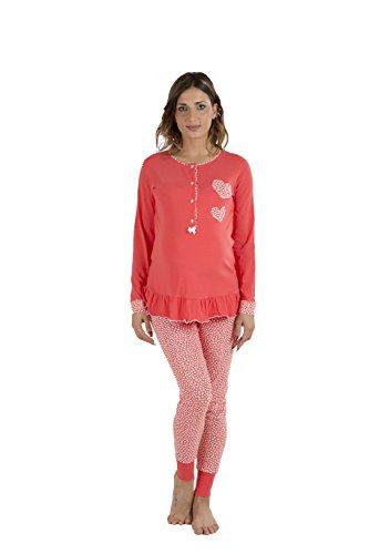 Premamy - pigiama per premaman, modello aperto davanti, cotone bielastico, pre-post parto - rosso - iv (m)