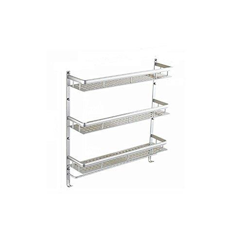 Shelfhx 3 Tier Baño de Aluminio Estante Champú Almacenamiento Cesta de Ducha Baño Rack Organizador Toallero con Gancho Colgante (tamaño : 50cm)