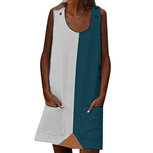LOPILY Tunika Damen Große Größen Zweifarbige Blusenkeid Taschen Sommerkleid Lose Atmungsaktives Umstandkleid Knielang Sommerkleid für Mollige Ärmellos Strandkleid (X3_Weiß, EU-34/CN-S)