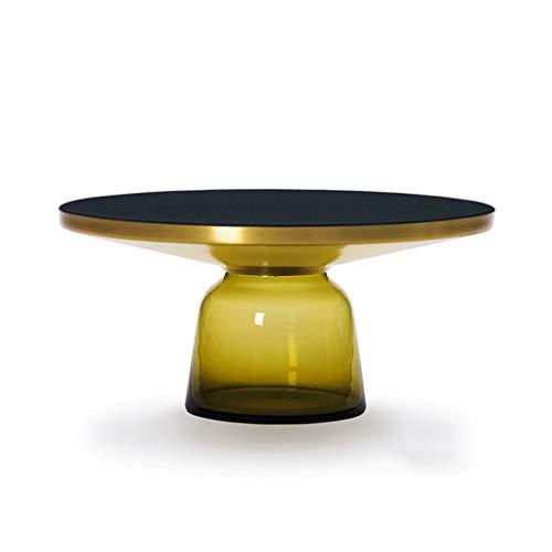 LIAN Table Basse Ronde en Verre trempé (Couleur : Le Jaune, Taille : Gros)