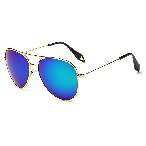 ZSHHG Mode Bunte Spiegel Polarisierte Herren Sonnenbrille Victoria Sonnenbrille Reflektierende Sonnenbrille Frauen Zustrom Goldrahmen Blau Stück 148 * 132 * 52 Mm