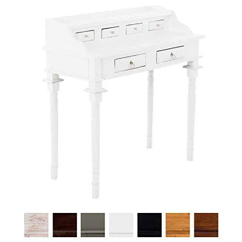 Clp tavolo scrittoio in legno di mogano bourbon - scrivania studio in stile rustico con 6x cassetti e 2x ripiani i vanity table make up i consolle tavolo lavoro o camera da letto bianco