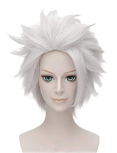 Hair Cap + Silver White Men es Short Straight Costume Party Anime Cosplay Wig Synthetic Party Hair For Boy Teens