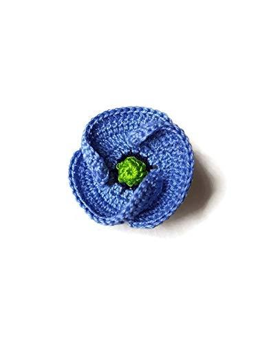 Regalo hecho a mano ganchillo joyería broche púrpura azul amapola para él naturaleza flor perno