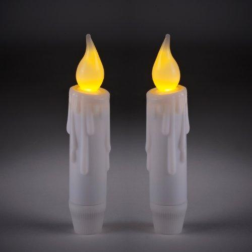 Juego de 2 velas de mesa LED con temporizador, 12 cm, funcionamiento con batería, Lights4fun Parent, 2 unidades
