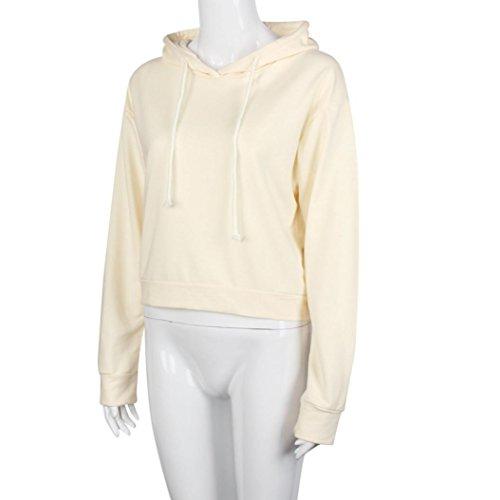 OverDose Damen Beiläufiger langer Hülsen Hülsen hohles Loch Pullover lange Oberseiten Hemd Beige