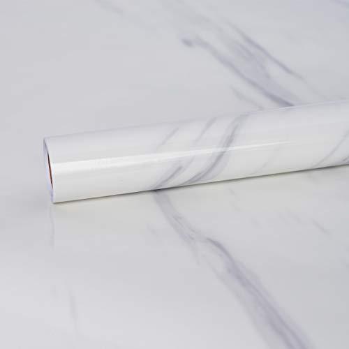 Hode Papier adhésif Motif Marbre Gris, 30 cm X 200 cm Plastique à Dos Collant, Vinyle Auto-adhésif,Papier Peint Autocollant,Papier Adhésif pour Meuble, Porte Blanc Marbre