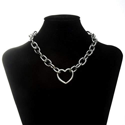 ATHQ Coole Gold Und Silber Große Kette Kragen Lock Runde Halskette Damen Herren Schmuck Zubehör, Silber -
