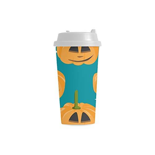 Kürbis Gelb Party Feier Gewohnheits 16 Unze doppelwandiger Plastikisolierte Sport Wasser Flaschen Schalen Pendler Reise Kaffeetassen für Studenten Frauen Milch Teetasse Getränk (Kostüm Milch Glas)