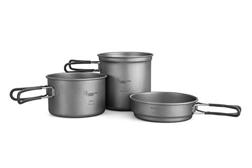 HealthPro Titanium Lightweight 3-Piece Pot and Pan Camping Hiking Cookware Set by HealthPro