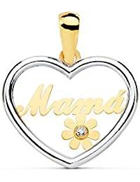"""Colgante de Oro Bicolor Corazon """"Mama"""" con Flor y circon (9kts)"""