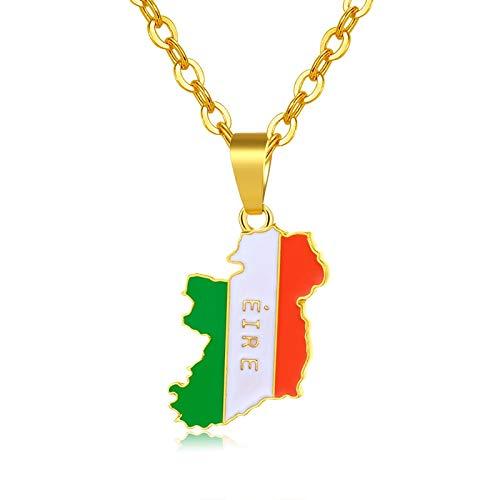 Irland Kostüm Schmuck - DADATU Halsketten für Herren Irland Karte Und Flagge Anhänger Halsketten Für Frauen Männer Gold Farbe Charme Irland Land Schmuck Geschenke Bijoux Femme 50cm