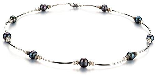 (PearlsOnly Halskette mit Schwarzen and weißen, 5-7mm großen Süßwasserperlen in A-Qualität, Sofia -18 cm)