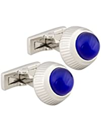 Silver Laser Cut Detail With Royal Blue Stone Cufflinks For Men