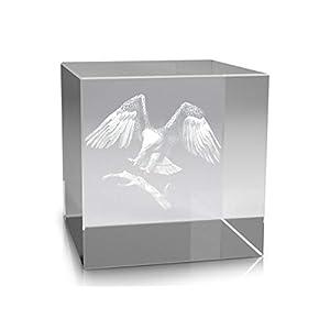 VIP-LASER 3D Glasquader XL Landender Adler in 3D mitten in einen Glasquader graviert (60x60x60mm)