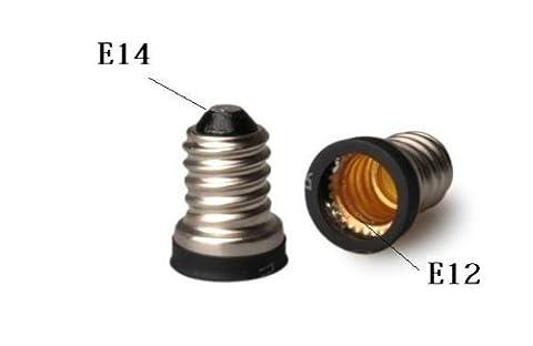 Qishare LED E14 bis E12 Schraubadapter Konverter Licht Steckdosen Lampe Adapter (12V, 110V-120V, 220V-240V) (Silber 2 PC)