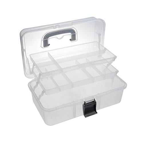 gkiste aus Kunststoff Werkzeugkoffer mit herausnehmbaren Organizer 13-inch Transparent ()