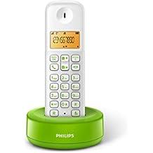Philips D1301WN - Teléfono inalámbrico con pantalla iluminada de 4.1 cm, 10hrs conversación, Blanco y verde, 1 Pieza