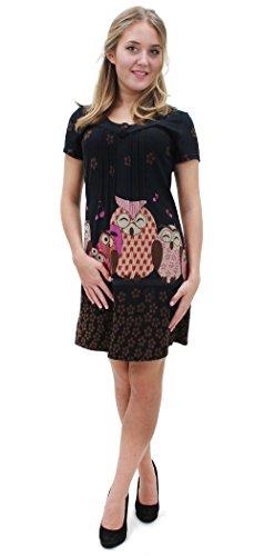 Purplish Strickkleid SINGING OWLS DRESS 7030 (Small, black)
