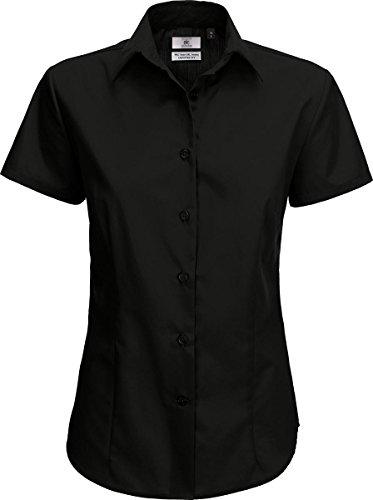 B & C Damen formale Wear Damen Bluse Top Klassische Passform Smart Short Sleeve Shirt Schwarz - Schwarz