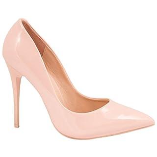 Elara Spitze Damen Pumps | Bequeme Lack Stilettos | Elegante High Heels Pink 40