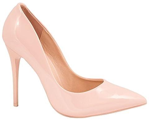 Elara Spitze Damen Pumps | Bequeme Lack Stilettos | Elegante High Heels Pink 37