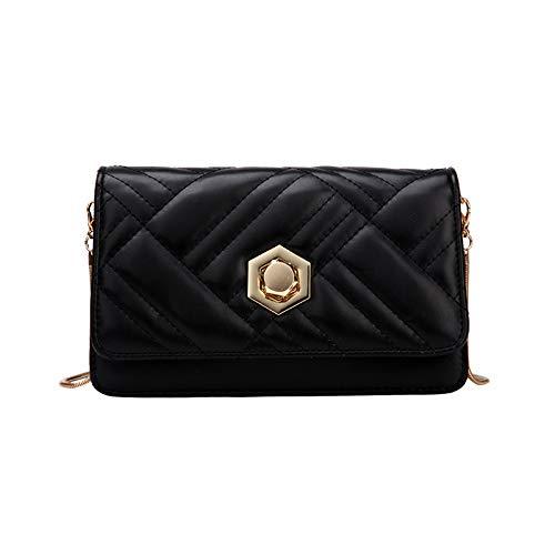 Umhängetasche - Personalisierte Lock Strukturierte Modetasche Wild Single Shoulder Bag Schwarz