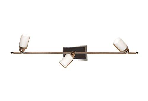 Sonderangebot Deckenstrahler Spot Strahler Star-Line Halogen Deckenleuchte Nickel Glas weiß G9 40W Deckenlampe Deckenbalken (nickel-weiß 3 flammig) -