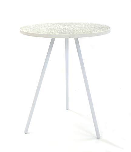 DARO DEKO Mosaik-Glas Tisch rund Ø 40,5 x 48cm weiß