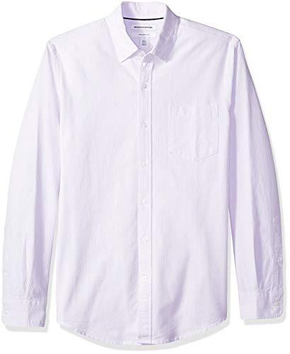 Amazon Essentials Slim-Fit Long-Sleeve Stripe Pocket Oxford Shirt Freizeithemd, Violett (Lavender Lav), US M (EU M) -