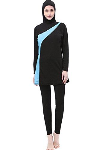 BOZEVON Muslimischen Badeanzug - Muslim Islamischen Bescheidene Badebekleidung Modest Swimwear Beachwear Burkini für Damen, Schwarz+Blau, EU 2XL=Tag 3XL