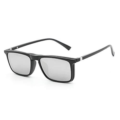 Magnetische Vier Anwendungen mit Einer Brille können mit Myopie-Clips ausgestattet Werden. Polarisierte Sonnenbrille mit Mehrfachfunktion Brille (Color : Silber, Size : Kostenlos)