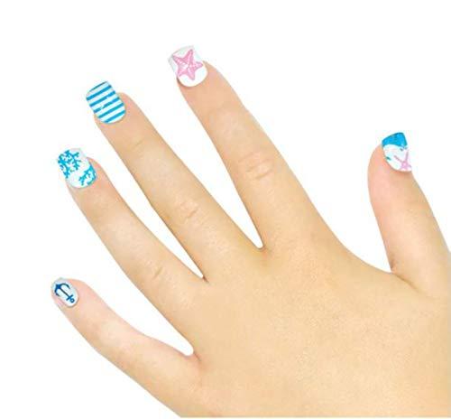 Tokkids 24 pezzi unghie finte per bambine, pre incollato (summer sea)