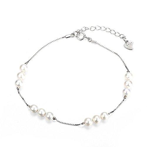 Filigraner Sterling Silber Initiale Charm Armband mit kleinen Shell Perlen Damen Alltag Schmuck Hochzeit Brautjungfer Geburtstag Jahrestag Geschenk