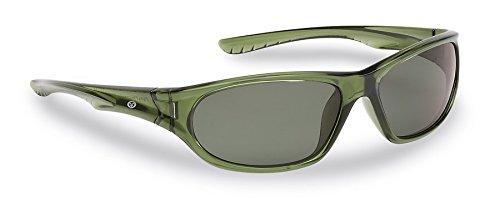 Flying Fisherman Schiffshalter (Fische) Jr Angler Polarisierte Sonnenbrille, Kristall grün Rahmen, Smoke Lenses