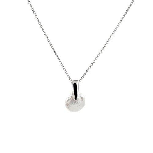 Collana di perle coltivate d'acqua dolce Keshi 13-15 mm Secret & You - Catena e pendente in argento sterling 925 Rodiada - 45 cm di lunghezza.