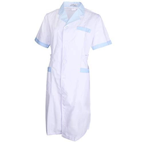 non-brand Baoblaze Damen Herren Labormantel Laborkittel Berufsmantel Arztkittel Ärztemantel Arbeitskleidung aus Baumwolle - Weiß + Blau, ()