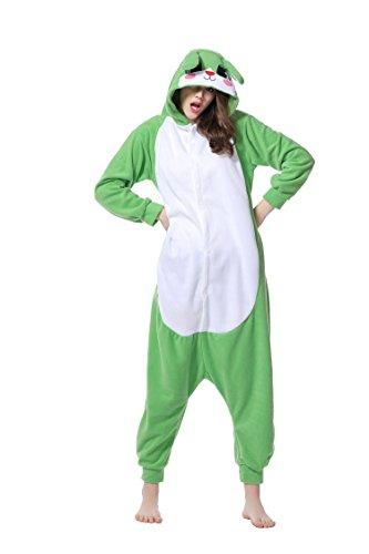 Unisex Erwachsene Kinder Pyjamas Cosplay Nachtwäsche Osterhase Tier Onesie Kostüme Schlafanzug Tieroutfit tierkostüme Jumpsuit (XL, Grün Hase)