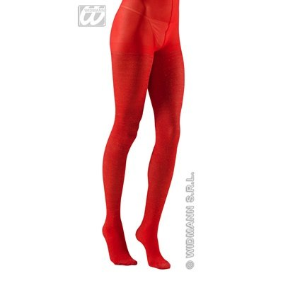 Teufel Rote Spandex Kostüm (Coole Glitter Strumpfhose PANTYHOSE red)