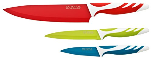 Qualitäts Messerset Edelstahl mit Antihaft, Kochmesser - Fleischmesser, Gemüsemesser, Obstmesser - Schälmesser, leicht zu säubern, extra scharf, rutschfeste Griffe ()