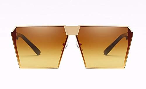 WSKPE Sonnenbrille,Metallische Sonnenbrille Unisex Fahren Sonnenbrille Gold Frame Braune Linse