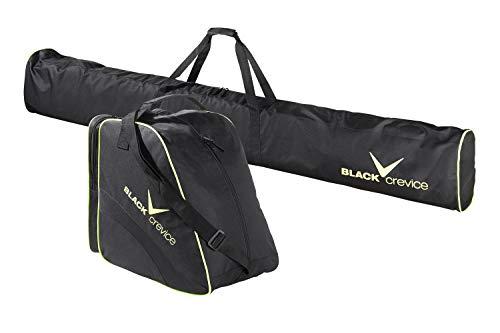 Black Crevice ski Bag and ski Boot Bag Set, Black/Yellow