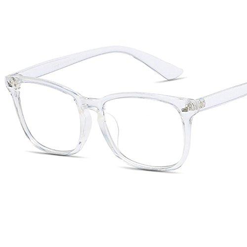 LANOMI Retro Nerdbrille Runde Brille Fensterglas Ohne Stärke Hornbrille Groß Damen Herren Brillenetui (Transparent)