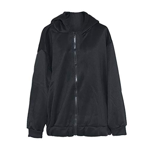 DEELIN Langarm Shirts Damen Zipper Verdickung Plus Velvet Sweater Oberseite Pullover Sweatshirt Bluse Top Kapuzenpullover -