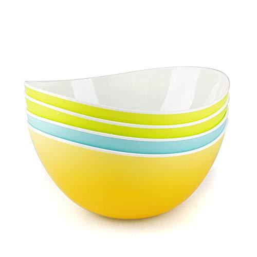 Cuenco de ensalada de plástico para servir pasta, juego de 4 cuencos grandes para mezclar