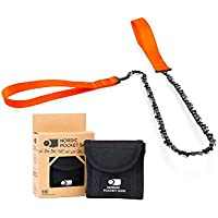 New Nordic Pocket Saw - Original - Compact Folding Camping Chainsaw. Survival Handsaw kit with Nylon Pouch for Hunting, Hiking and Outdoors, Tree saw.