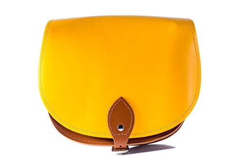 Jaune et de de Tan brun Brun Deux couleurs / Dual / Contraste / de cuero real Cuerpo Cruz Saddle Sac ˆ main avec sangle rŽglable et fermeture ˆ boucle. Disponible dans de nombreuses combinaisons