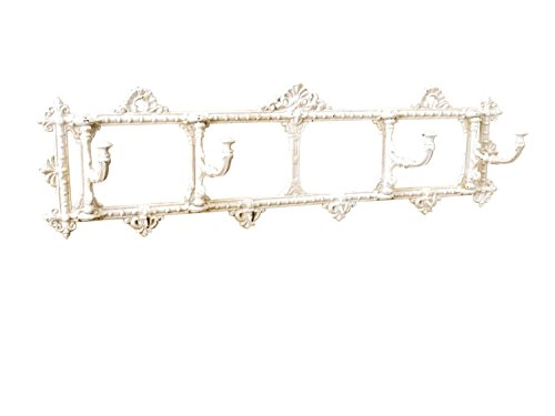 Wandgarderobe Garderobe Jugendstil antik Stil 63cm x 18cm alt weiss beige