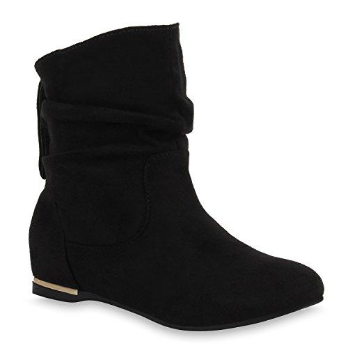 Flache Damen Stiefeletten Wildleder-Optik Boots Schlupfstiefel Trendy Schuhe 107291 Schwarz 36 - Großen Schwarzen Kostüm